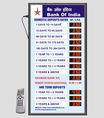 LED Bank Interest Rate Display